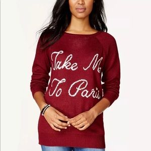 "🌹""Take Me To Paris"" Burgundy Sweater - Medium 🌹"